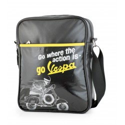 "Vespa schoudertas ""Go where the action is"" zwart - VPSB74"