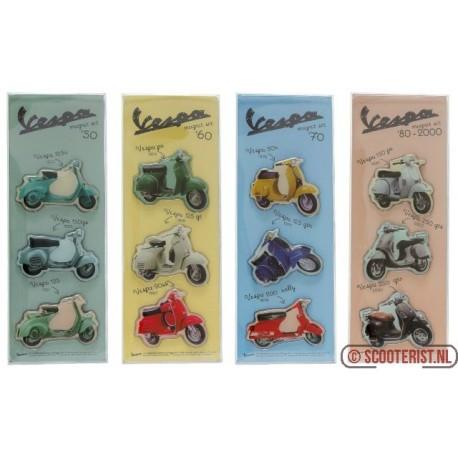 Set van 3 magneten van oldtimer Vespa's